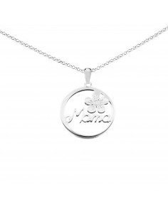 925 Sterling Silver butterfly and flower round necklace