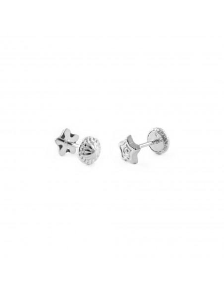 9ct White Gold Children's Stars Earrings
