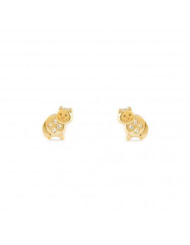 9ct Yellow Gold cat Children's Earrings