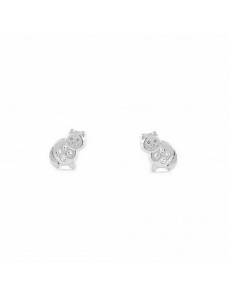 9ct White Gold cat Children's Earrings