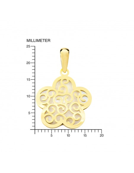 18ct Yellow Gold flower Nacre Pendant