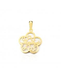 9ct Yellow Gold flower nacre mama Pendant