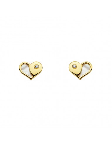 9ct Yellow Gold heart with mother-of-pearl Children's Earrings