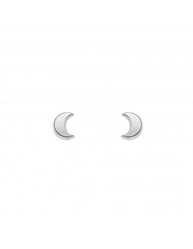 Boucles d'Oreilles Enfant demi-lune lisse Or Blanc 9 Carats