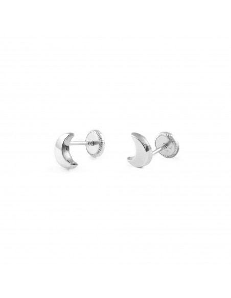 9ct White Gold half Moon Baby Earrings