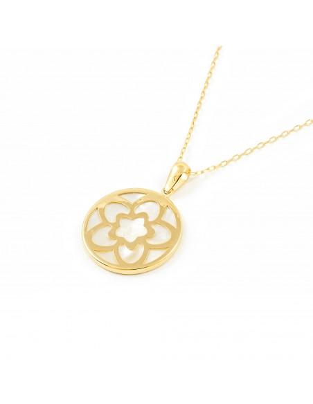 9ct Yellow Gold nacre flower Pendant