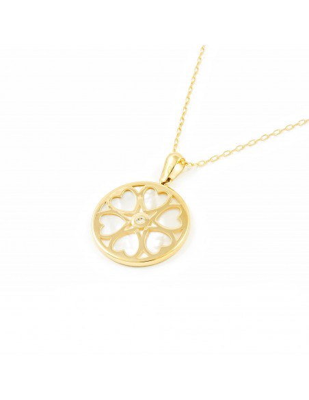 9ct Yellow Gold nacre hearts Pendant
