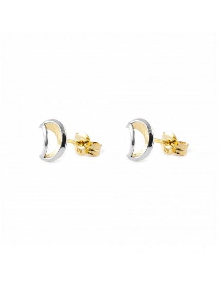 9ct 2 Colour Gold Moon Children's Earrings