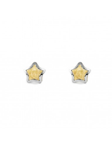 9ct 2 Colour Gold stars Children's Earrings